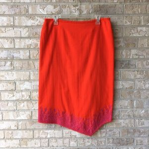 French Connection Red Embroidered Wool Skirt 10